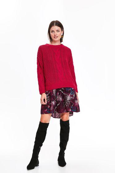 Pulover Top Secret roz casual cu croi larg din material tricotat cu maneca lunga
