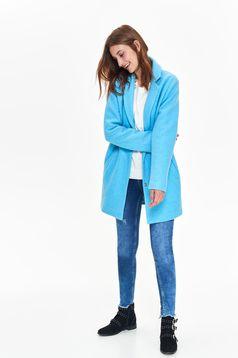 Palton Top Secret albastru casual cu un croi drept din material gros cu buzunare