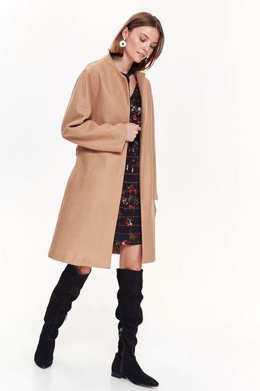 Palton Top Secret maro-deschis casual drept cu maneca lunga accesorizat cu cordon