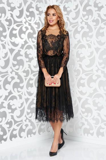 Rochie Ana Radu neagra de lux in clos din dantela captusita pe interior