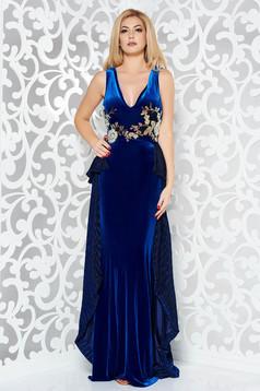 Rochie StarShinerS albastra de ocazie tip sirena din catifea cu insertii de broderie