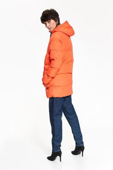 Geaca Top Secret portocalie midi casual cu buzunare cu gluga nedetasabila si inchidere cu fermoar si capse