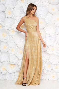 Gold occasional dress slightly elastic fabric folded up with metallic aspect with inside lining one shoulder