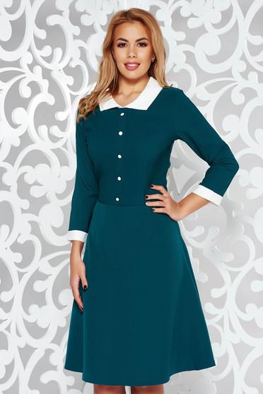 Rochie verde office midi in clos din stofa subtire usor elastica cu guler