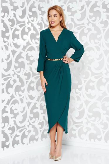 Rochie verde eleganta din stofa subtire usor elastica captusita pe interior cu accesoriu tip curea