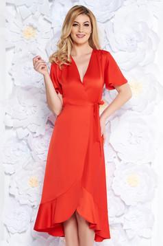 Rochie rosie de ocazie petrecuta din stofa neelastica subtire cu volanase la baza rochiei
