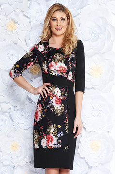 Rochie neagra eleganta tip creion din stofa subtire usor elastica cu imprimeuri florale