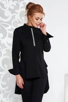 Camasa dama Fofy neagra casual cu croi larg asimetrica din bumbac usor elastic cu maneci lungi