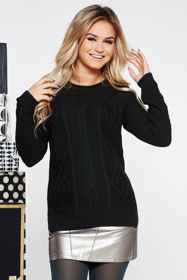 Pulover negru casual cu croi larg tricotat din bumbac neelastic