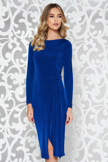 Rochie StarShinerS albastra de ocazie cu un croi mulat din material elastic cu maneca lunga