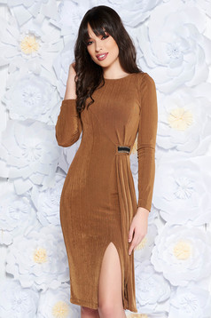 StarShinerS brown occasional dress from elastic fabric with tented cut long sleeve