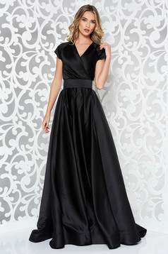 Ana Radu black long luxurious cloche dress from satin fabric texture accessorized with tied waistband