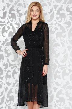 Rochie StarShinerS neagra eleganta in clos din material transparent cu aplicatii stralucitoare accesorizata cu cordon