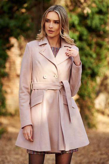Palton StarShinerS rosa casual in clos din lana captusit pe interior cu buzunare accesorizat cu cordon