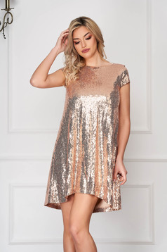 StarShinerS gold occasional asymmetrical flared dress short sleeves