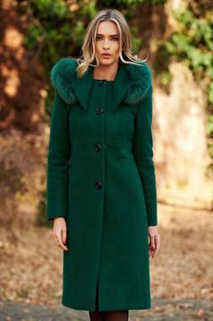Palton verde elegant cu un croi drept din lana captusit pe interior cu guler din blana naturala cu buzunare