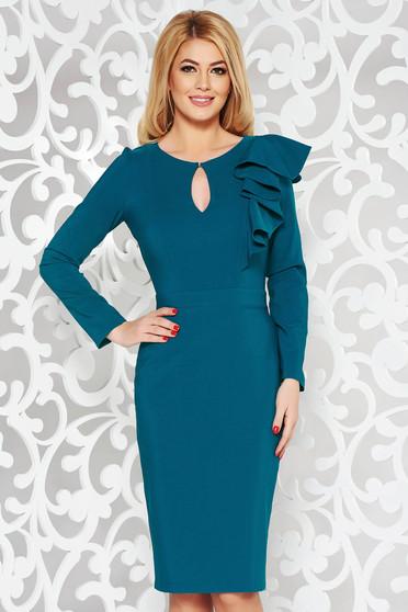 Rochie LaDonna albastra eleganta tip creion din stofa usor elastica captusita pe interior cu volanase