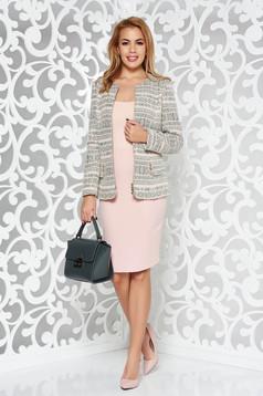 Compleu rosa elegant din stofa neelastica captusit pe interior cu fusta tip creion