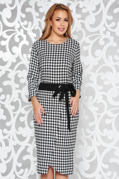 Rochie neagra eleganta tip creion din bumbac usor elastic accesorizata cu cordon