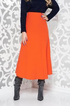 Fusta StarShinerS portocalie office in clos din stofa subtire usor elastica cu talie inalta