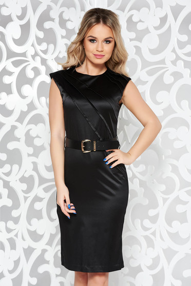 Rochie StarShinerS neagra eleganta midi din bumbac usor elastic cu accesoriu tip curea