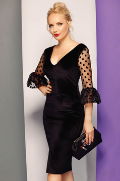 Fofy black occasional pencil dress from velvet with v-neckline