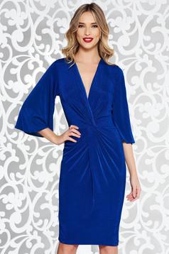 Rochie StarShinerS albastra de ocazie midi din material elastic cu decolteu in v si maneci clopot