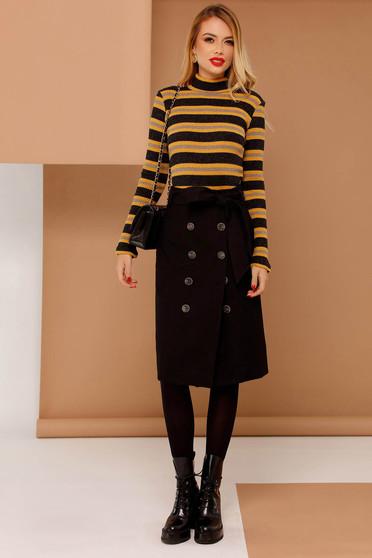 Body PrettyGirl galben casual cu maneci lungi din material tricotat cu dungi