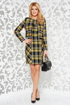 Compleu StarShinerS galben cu 3 piese din bumbac in carouri captusit pe interior cu sacou cu fusta si rochie