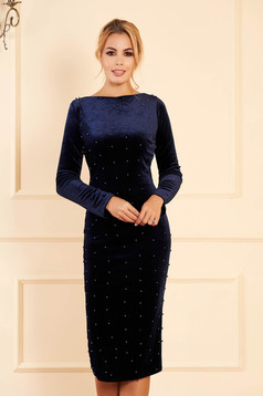 Artista darkblue occasional midi from velvet dress with tented cut with small beads embellished details