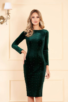 Artista darkgreen occasional midi from velvet dress with tented cut with small beads embellished details