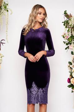 Artista purple occasional velvet pencil dress with lace details midi