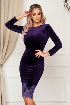 Artista purple occasional velvet pencil dress with lace details midi