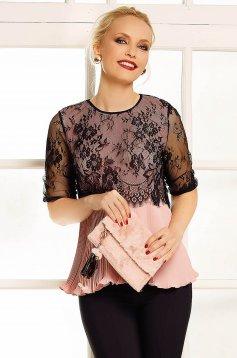 Bluza dama Fofy rosa eleganta cu croi larg din voal plisat cu suprapunere cu dantela