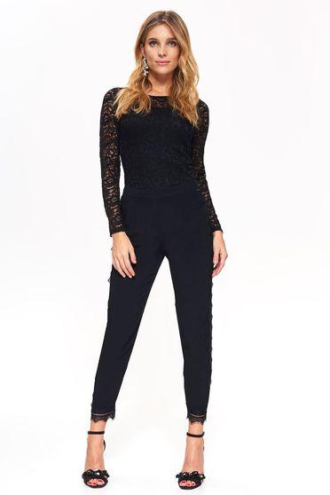 Pantaloni Top Secret negri eleganti cu talie medie din material vaporos cu aplicatii de dantela