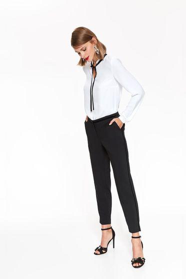 Pantaloni Top Secret negri eleganti conici cu talie medie din bumbac