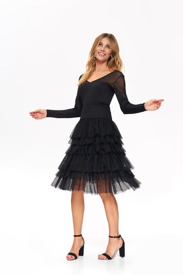 Bluza dama Top Secret neagra de ocazie cu maneci lungi cu decolteu in v din material usor elastic