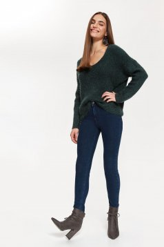 Top Secret darkgreen casual flared sweater with v-neckline knitted fabric