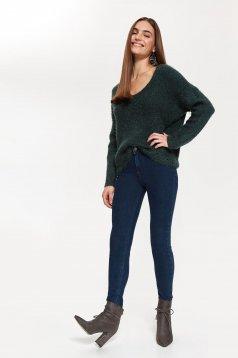 Pulover Top Secret verde-inchis casual cu croi larg cu decolteu in v din material tricotat