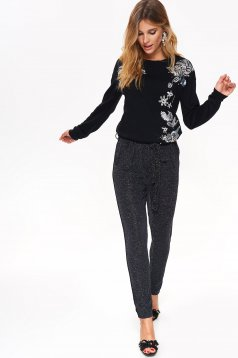 Top Secret black conical trousers high waisted accessorized with tied waistband