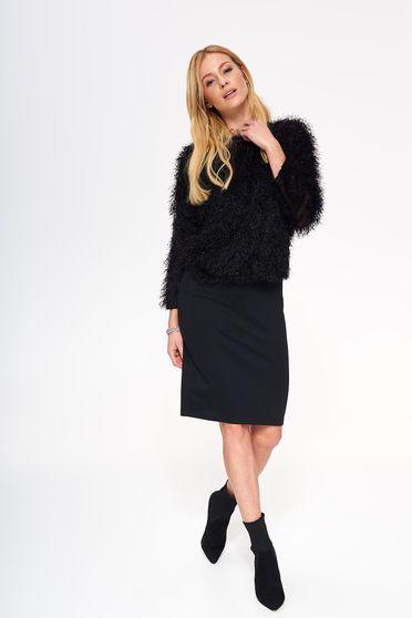 Pulover Top Secret negru casual cu croi larg din material pufos tricotat
