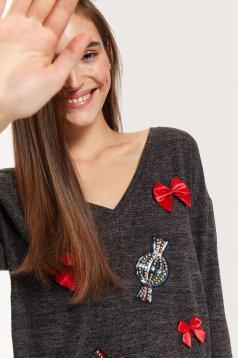 Bluza dama Top Secret gri-inchis casual tricotata si accesorizata cu fundite