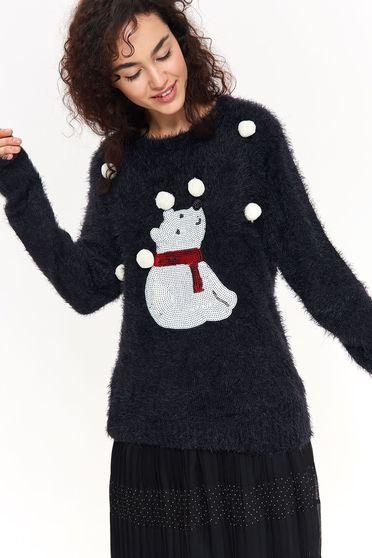 Pulover Top Secret negru casual cu croi larg din material tricotat cu ciucuri