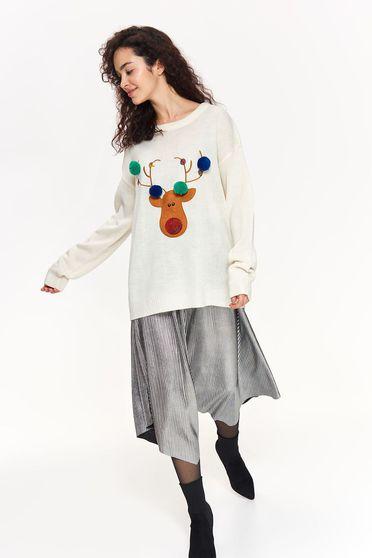 Pulover Top Secret crem casual cu croi larg din material tricotat cu ciucuri