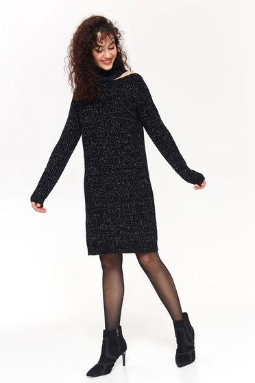 Pulover Top Secret negru casual cu croi larg din material tricotat cu umeri decupati