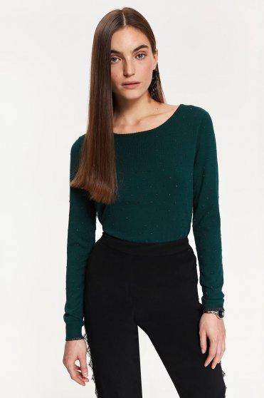 Pulover Top Secret verde cu maneca lunga din material tricotat cu aplicatii stralucitoare