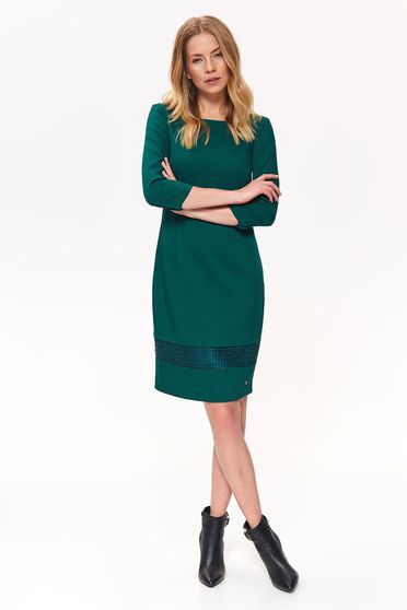 Rochie Top Secret verde-inchis eleganta tip creion cu un croi cambrat din stofa usor elastica