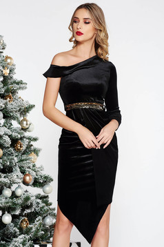 Black occasional asymmetrical pencil dress velvet accessorized with tied waistband with sequin embellished details