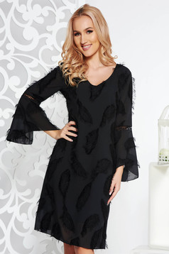 Rochie neagra eleganta cu croi larg din voal captusita pe interior cu maneci clopot