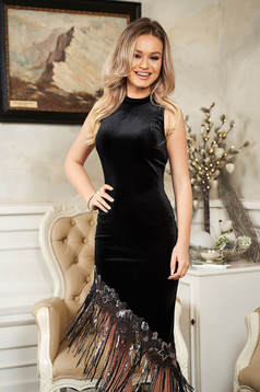StarShinerS black occasional dress with tented cut asymmetrical velvet with fringes with sequins with turtle neck
